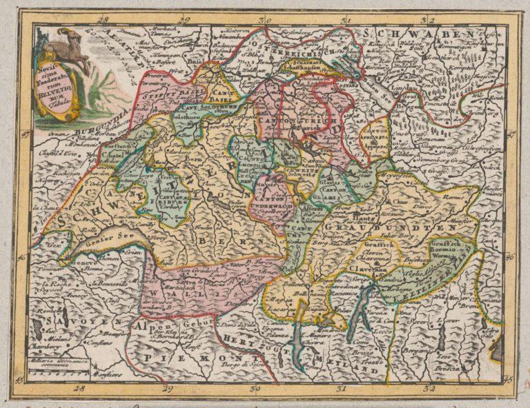 """Landkarte """"Novissima foederatorum Helvetiorum tabula"""" mit Flächenkolorit, in verschiedenen Atlanten in der Zeit zwischen 1717 und 1762 in Nürnberg erschienen. Zentralbibliothek Zürich, 3 Hb 04:9. Repro: ZB Zürich"""