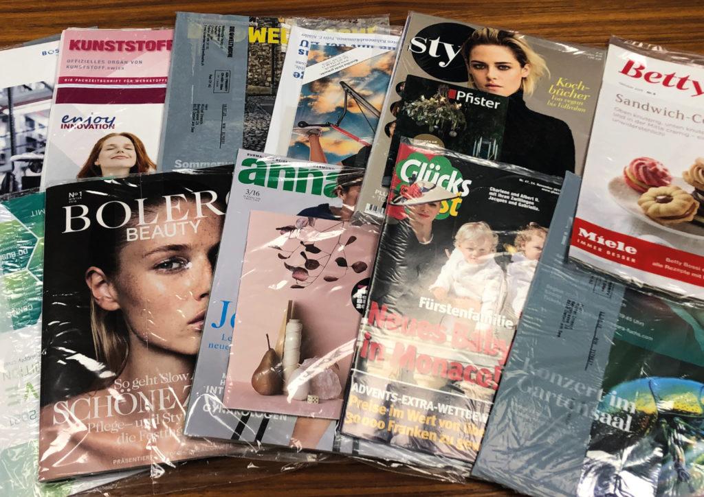 Zeitschriften in typischen Folienbeuteln. Foto: Ferag