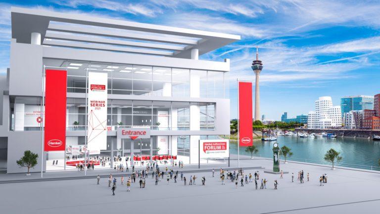 """Online-""""Henkel Adhesives Forum"""" mit der Düsseldorf-Stadtansicht als Kulisse. Grafik: Henkel"""