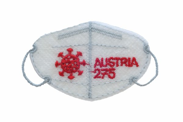Ungewöhnliche Briefmarke in Form einer FFP2-Schutzmaske. Foto: Österreichische Post AG