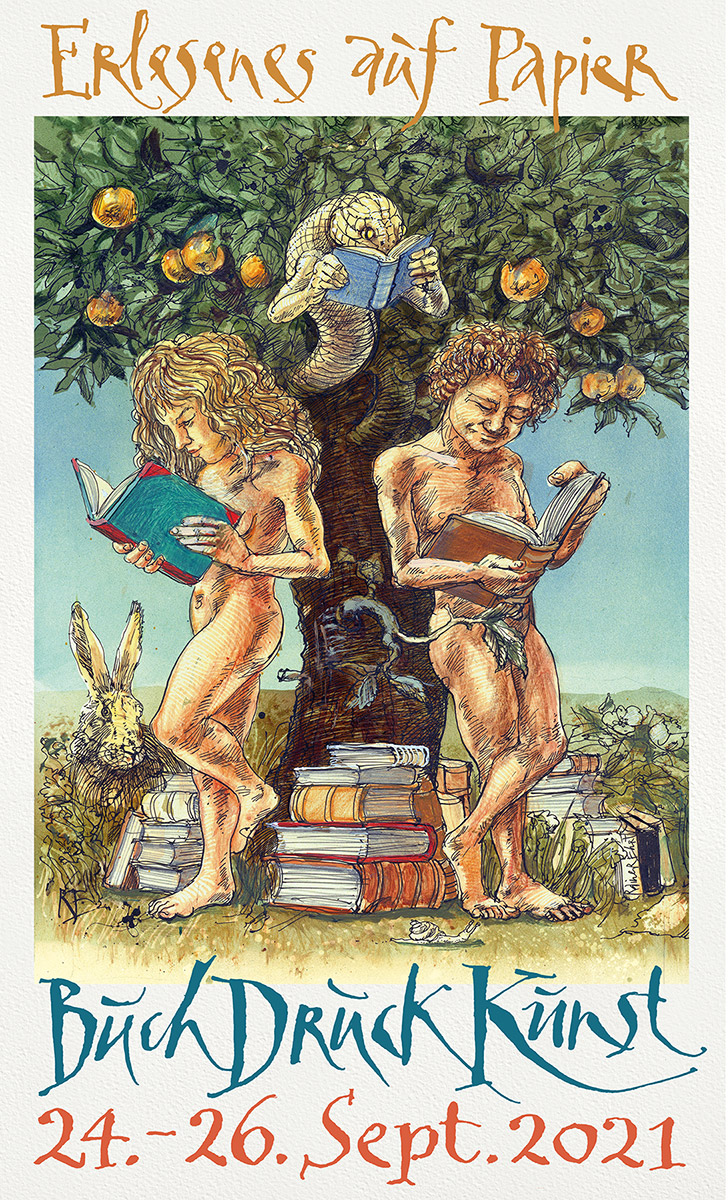 """""""Buch Druck Kunst""""-Cover des Messemagazins """"Bücherparadies"""". Grafik: Rainer Ehrt"""