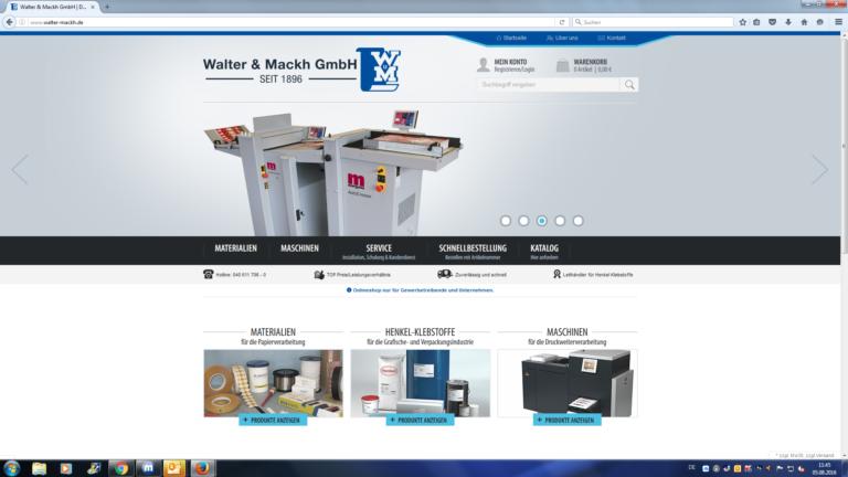 Startseite der Webpräsenz (Ausschnitt). Screenshot: Walter & Mackh