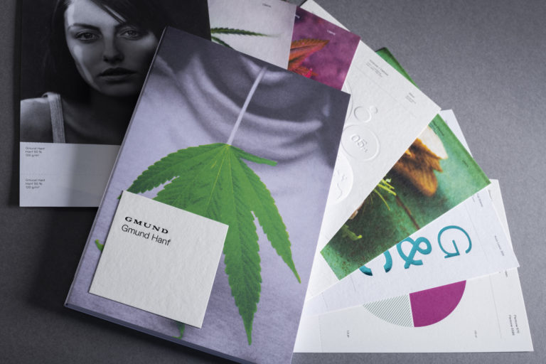 Neuartiges Sortiment von Hanfpapier. Foto: Gmund Papier